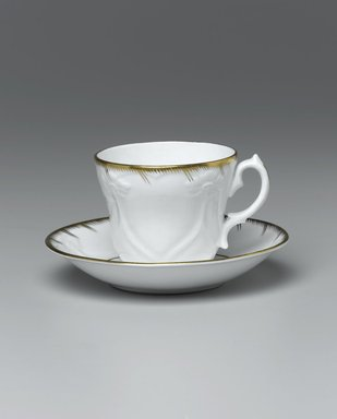 Cup and Saucer from a Twelve Piece Tea Service, Patented 1853. Porcelain, cup: 2 3/4 x 3 3/4 x 3 1/4 in. (7.0 x 9.5 x 8.2 cm). Brooklyn Museum, Gift of the Family of Paul E. Burtis, 1993.109.5a-b. Creative Commons-BY
