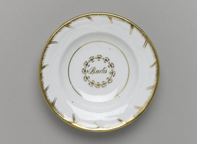 Plate from a Twelve Piece Tea Service, Patented 1853. Porcelain, 1 x 5 1/2 x 5 1/2 in. (2.5 x 14.0 x 14.0 cm). Brooklyn Museum, Gift of the Family of Paul E. Burtis, 1993.109.6. Creative Commons-BY