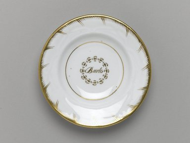Plate from a Twelve Piece Tea Service, Patented 1853. Porcelain, 1 x 5 1/2 x 5 1/2 in. (2.5 x 14.0 x 14.0 cm). Brooklyn Museum, Gift of the Family of Paul E. Burtis, 1993.109.7. Creative Commons-BY