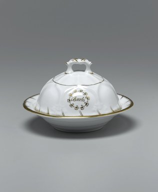 Butter Dish with Lid and Drainer from a Twelve Piece Tea Service, Patented 1853. Porcelain, dish: 1 1/2 x 7 1/4 x 7 1/4 in. (3.8 x 18.4 x 18.4 cm). Brooklyn Museum, Gift of the Family of Paul E. Burtis, 1993.109.8a-c. Creative Commons-BY