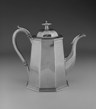John Chandler Moore (active 1832-1844). Coffee Pot, ca. 1835. Silver, 7 x 8 x 4 1/2 in. (17.8 x 20.3 x 11.4 cm). Brooklyn Museum, Gift of Wunsch Americana Foundation, Inc. in honor of Dianne H. Pilgrim, 1993.114.5. Creative Commons-BY