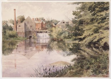 George  J. Tribe (American, active late 19th-20th century). Old Felt Mill on the Negunticook River, Camden, Maine, 1895. Watercolor over graphite on cream, moderately thick, moderately textured wove paper, 9 3/4 x 13 13/16 in. (24.8 x 35.1 cm). Brooklyn Museum, Purchased in memory of former Museum staff member Jane Carpenter Poliquin (1955-1992), with funds given by her friends and colleagues, 1993.121