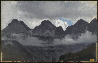 Auguste-François Bonheur (French, 1824-1884). Mountains with Mist, mid 1850s. Oil on paper mounted on canvas, 10 1/2 x 16 9/16 in. (26.7 x 42.1 cm). Brooklyn Museum, Healy Purchase Fund B, 1993.123.1