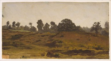 Auguste-François Bonheur (French, 1824-1884). View of a Field, early 1850s. Oil on paper, 6 5/8 x 12 5/16 in. (16.8 x 31.3 cm). Brooklyn Museum, Healy Purchase Fund B, 1993.123.2