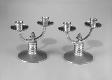Reed & Barton (American, 1840-present). Candelabra, One of Pair, ca. 1928. Pewter, 5 3/4 x 7 x 4 3/8 in.  (14.6 x 17.8 x 11.1 cm). Brooklyn Museum, Gift of Jewel Stern, 1993.152.1. Creative Commons-BY