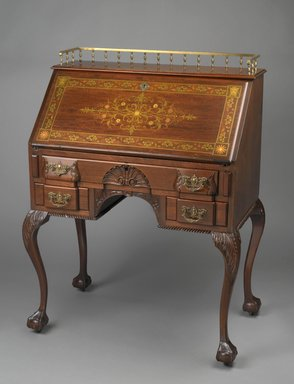 R. J. Horner. Desk, 1890-1895. Various woods, various metals, mother-of-pearl inlay, brass hardware, 42 3/4 x 32 x 19 3/4 in. (108.6 x 81.25 x 50.15 cm). Brooklyn Museum, Alfred T. and Caroline S. Zoebisch Fund, 1993.156. Creative Commons-BY