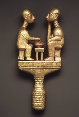 Akan. Staff Finial, late 19th or early 20th century. Wood, gold leaf, 12 1/2 x 5 3/4 x 2 1/4 in.  (31.8 x 14.6 x 5.7 cm). Brooklyn Museum, Gift of Bill and Gale Simmons, 1993.182.3. Creative Commons-BY