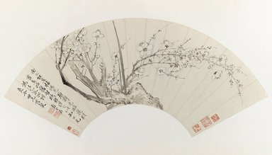 Yun Shouping (Chinese, 1633-1696). Plum Blossoms, 17th century. Fan painting mounted as album leaf, ink and light color on paper, Image: 7 x 21 1/4 in. (17.8 x 54 cm). Brooklyn Museum, Gift of Mr. and Mrs. Willard G. Clark in honor of Dr. Bertram H. Schaffner, 1993.187. Creative Commons-BY