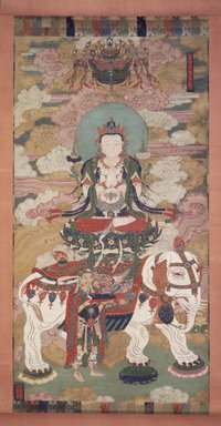 Bodhisattva Samantabhadra, late 18th-early 19th centuries. Hanging scroll; ink, color, cut gold leaf on rough silk, overall, 100 x 48 1/2 in. Brooklyn Museum, Gift of Rosemarie and Leighton R. Longhi, 1993.192.2
