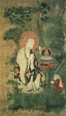 Arhat (One of nine Tibetan Ritual Paintings of Arhats), 17th century. Opaque watercolor on silk mounted on a paper and wood frame, Each painting: 43 x 25 1/2 in. Brooklyn Museum, Gift of Rosemarie and Leighton R. Longhi, 1993.192.6