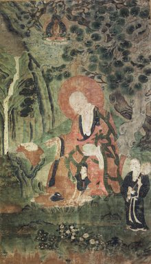 Arhat (One of nine Tibetan Ritual Paintings of Arhats), 17th century. Opaque watercolor on silk mounted on a paper and wood frame, Each painting: 43 x 25 1/2in. Brooklyn Museum, Gift of Rosemarie and Leighton R. Longhi, 1993.192.9
