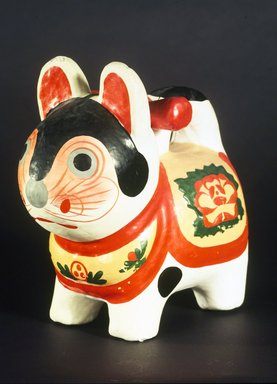 Inu-Hariko (Papier-mache Puppy Doll), ca. 1950. Papier-mache, rice paste, whitewash, applied color, 9 x 9 in. (22.9 x 22.9 cm). Brooklyn Museum, Gift of Dr. and Mrs. John P. Lyden, 1993.194.3. Creative Commons-BY