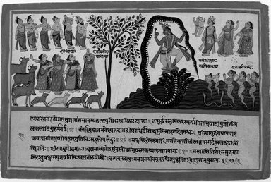 Indian. Krishna Conquers the Serpent Kaliya, Page from a Dispersed Bhagavata Purana Series, ca. 1775. Opaque watercolor and gold on paper, sheet: 9 3/4 x 14 5/8 in.  (24.8 x 37.1 cm). Brooklyn Museum, Gift of Elvira and Gursharan Sidhu, 1993.199