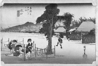 Utagawa Hiroshige (Ando) (Japanese, 1797-1858). Minakuchi, from Fifty-three Stations on the Tokaido, ca. 1833. Woodblock print, Sheet: 9 5/8 x 14 1/16 in. (24.5 x 35.7 cm). Brooklyn Museum, Gift of Dr. Eleanor Z. Wallace in memory of her husband, Dr. Stanley L. Wallace, 1993.201.1
