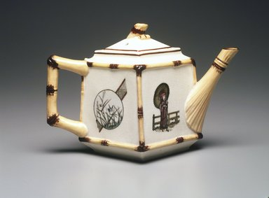 Teapot with Lid, ca. 1880. Glazed earthenware with transfer printed decoration, teapot: 4 1/4 x 8 x 4 1/3 in. (10.8 x 20.3 x 11.4 cm). Brooklyn Museum, Gift of Paul F. Walter, 1993.209.23a-b. Creative Commons-BY