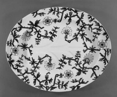 Large Oval Platter, ca. 1880. Glazed earthenware with transfer printed decoration, oval, 2 x 19 1/2 x 15 3/4 in. (5.0 x 49.5 x 40.0 cm). Brooklyn Museum, Gift of Paul F. Walter, 1993.209.5. Creative Commons-BY