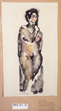 John B. Flannagan (American, 1895-1942). Female Nude, 1910-1942. Watercolor and ink washes over graphite on paper, Sheet (irregular): 18 1/8 x 10 13/16 in. (46 x 27.4 cm). Brooklyn Museum, Gift in memory of Mr. and Mrs. H. Lawrence Herring, 1993.211.2