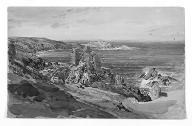 William Trost Richards (American, 1833-1905). Coast of Cornwall, England, 1878-1880. Watercolor and lead white over graphite, heightened with white pastel on wove paper, 9 1/16 x 14 3/8 in. (23 x 36.5 cm). Brooklyn Museum, Gift of Edith Ballinger Price, 1993.212.2