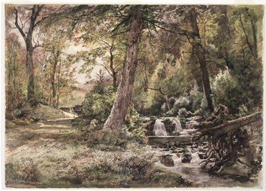 William Trost Richards (American, 1833-1905). Landscape with Stream and Road, Chester County, ca. 1886. Watercolor over graphite on off-white, moderately thick, moderately textured wove paper, 10 x 13 15/16 in. (25.4 x 35.4cm). Brooklyn Museum, Gift of Edith Ballinger Price, 1993.212.4
