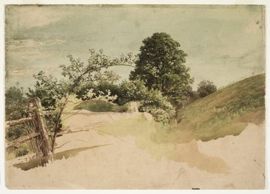 William Trost Richards (American, 1833-1905). Landscape with Fence, 1870s-1880s. Transparent and opaque watercolor over graphite on dark beige, moderately thick, slightly textured wove paper, 10 x 14 in. (25.4 x 35.6 cm). Brooklyn Museum, Gift of Edith Ballinger Price, 1993.212.5