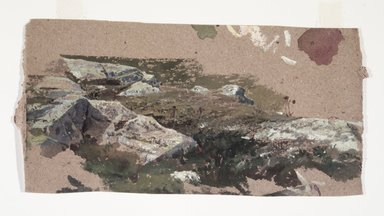 William Trost Richards (American, 1833-1905). Study of Rocks, 1870s-1880s. Watercolor on heavy brown paper, 7 3/8 x 14 3/16 in. (18.7 x 36 cm) (uneven). Brooklyn Museum, Gift of Edith Ballinger Price, 1993.212.8