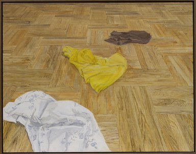 Sylvia Plimack Mangold (American, born 1938). Floor with Laundry No. 3, 1971. Acrylic and pencil on canvas, 44 x 56 in. (111.8 x 142.2cm). Brooklyn Museum, Gift of Ivan and Sharon Koota in memory of Miriam Miller, 1993.213. © Sylvia Plimack Mangold