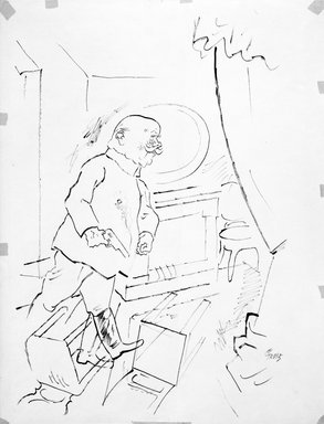 """George Grosz (American, born Germany, 1893-1959). The Scientist (recto) and The General (verso), 1921. Ink on paper, approx.: 24 x 18"""". Brooklyn Museum, Gift of Dr. and Mrs. Theodore Kamholtz, 1993.221a-b"""