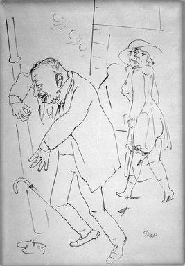 George Grosz (American, born Germany, 1893-1959). Betrunkener (Drunk), ca. 1922. Ink, 23 x 16 in. (58.4 x 40.6 cm). Brooklyn Museum, Gift of Dr. and Mrs. George Liberman, 1993.222.2