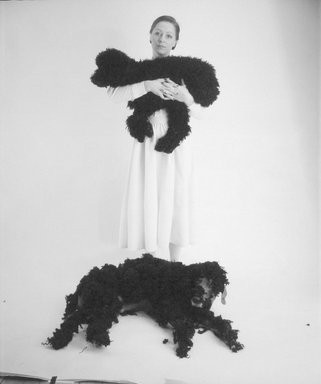 William Wegman (American, born 1943). Britta with Poodle and Man Ray, 1981. Dye diffusion photograph (Polaroid), image: 24 2/3 x 20 1/2 in. (63.3 x 52.0 cm). Brooklyn Museum, Gift of Laurie Jewell and Owen Morrell, 1993.228.2. © William Wegman