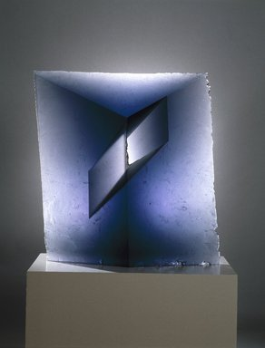 Jaroslava Brychtova. Spaces II, 1991-92. Cast glass, 32 1/2 x 29 1/2 x 4 3/4 in., 200 lb. (82.6 x 74.9 x 12.1 cm, 90.72kg). Brooklyn Museum, Purchased with funds given by Phyllis and Dave Roth, Adele and Leonard Leight, and Julius Kramer in loving memory of their parents, Etta and James Markowitz, 1993.32. Creative Commons-BY