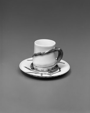Theodore R. Davis. Cup and Saucer, Patented May 10, 1880. Porcelain, (a) Cup: 2 1/2 x 2 7/8 x 2 1/8 in. (6.4 x 7.3 x 5.4 cm). Brooklyn Museum, H. Randolph Lever Fund, 1994.106a-b. Creative Commons-BY