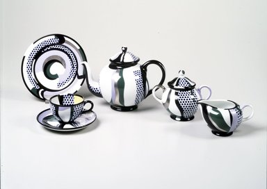 Roy Lichtenstein (American, 1923-1997). Teapot and Lid, 1984. Porcelain, Teapot: 6 7/8 x 9 7/8 x 6 3/8 in. (17.9 x 25.0 x 15.6 cm) (with lid) ; Lid; 2 1/4 x 3 1/2 in. ( 5.4 x 8.9 cm). Brooklyn Museum, H. Randolph Lever Fund, 1994.107.1a-b. Creative Commons-BY