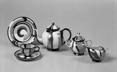 Roy Lichtenstein (American, 1923-1997). Cup and Saucer, 1984. Porcelain, (a) Cup: 2 3/4 x 4 5/8 x 3 5/8 in. (7 x 11.7 x 9.2 cm). Brooklyn Museum, H. Randolph Lever Fund, 1994.107.5a-b. Creative Commons-BY