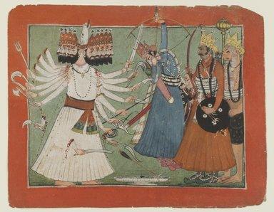 Indian. Ravana Challenges Rama's Army, ca. 1750. Opaque watercolor on paper, sheet: 6 1/8 x 7 3/4 in.  (15.6 x 19.7 cm). Brooklyn Museum, Gift of Dr. Bertram H. Schaffner, 1994.11.1