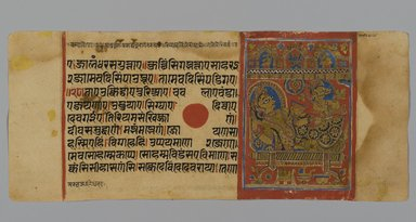 Page 15 from a Manuscript of the Kalpasutra: recto image of Devananda with Harinegamesin, verso image of Queen Trishala with Harinegamesin, 1472. Opaque watercolor and ink on gold leaf on paper, sheet: height: 4 3/8 in. Brooklyn Museum, Gift of Dr. Bertram H. Schaffner, 1994.11.23