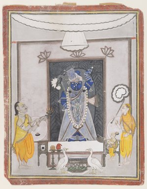 Indian. Worship of Shri Nathaji, mid 19th century. Opaque watercolor, gold and silver on paper, sheet: 13 1/8 x 10 1/4 in.  (33.3 x 26 cm). Brooklyn Museum, Gift of Dr. Bertram H. Schaffner, 1994.11.2