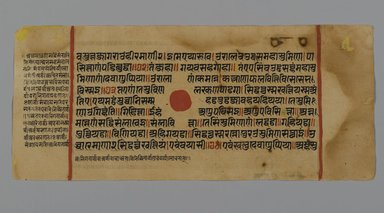 Page 32 from a manuscript of the Kalpasutra: recto text, verso image of interpretation of dreams, 1472. Opaque watercolor and ink on gold leaf on paper, sheet: height: 4 3/8 in. Brooklyn Museum, Gift of Dr. Bertram H. Schaffner, 1994.11.40