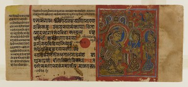 Page 37 from a manuscript of the Kalpasutra: recto image of Trishala's grief, verso text, 1472. Opaque watercolor and ink on gold leaf on paper, sheet: height: 4 3/8 in. Brooklyn Museum, Gift of Dr. Bertram H. Schaffner, 1994.11.45
