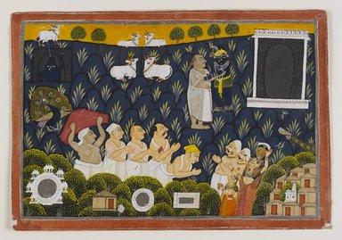 Worship of Krishna, ca. 1800. Opaque watercolor on paper, 6 5/8 x 9 3/4 in. Brooklyn Museum, Gift of Dr. Bertram H. Schaffner, 1994.11.6