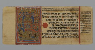 Page 64 from a manuscript of the Kalpasutra: recto image of Neminatha and Krishna standing in water, verso 2-tiered image of Neminathas wedding