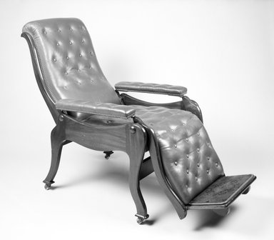 Holmes & Company. Reclining Armchair, ca. 1865. Wood, metal, modern upholstery, 43.78 x 26 3/4 x 46 1/2 in.  (111.2 x 67.9 x 118.1 cm). Brooklyn Museum, Gift of Thomas J. and Adriana Williams, 1994.120. Creative Commons-BY