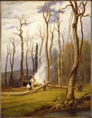 George Harvey (American, 1801-1878). Spring--Burning Trees in a Girdled Clearing, Western Scene, ca. 1840. Oil on canvas, 25 3/4 x 20 1/4 in. (65.4 x 51.5 cm). Brooklyn Museum, Gift of Mr. and Mrs. Leonard L. Milberg, 1994.123