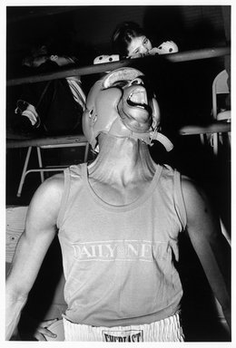 Eva Lipman. Amateur Boxer, Golden Gloves Competition, Madison Square Garden, N.Y.C., 1990. Gelatin silver photograph, sheet: 19 3/4 x 15 7/8 in. Brooklyn Museum, Gift of the artist, 1994.137. © Eva Lipman