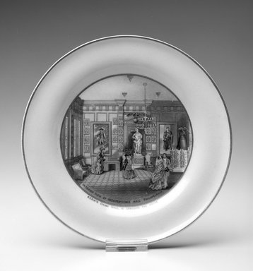 """Jesse Austin (English, 1806-?). Plate, """"Interior View of Independence Hall Philadelphia,"""" ca. 1876. Porcelain, 3/4 x 8 5/16 x 8 5/16 in.  (1.9 x 21.1 x 21.1 cm). Brooklyn Museum, H. Randolph Lever Fund, 1994.152.2. Creative Commons-BY"""