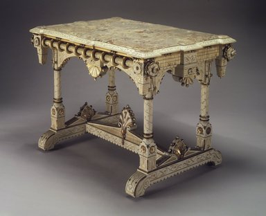 Allen & Brother (1847-1902). Center Table, ca. 1875. Cherry, marble, 31 5/8 x 44 3/4 x 29 1/4 in. (80.3 x 113.7 x 74.3 cm). Brooklyn Museum, Marie Bernice Bitzer Fund, 1994.153. Creative Commons-BY
