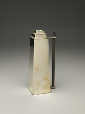 Louis W. Rice (American, 1872-1933). Skyscraper Chamber Stick, ca. 1928. Silverplate, patinated metal, 8 1/4 x 3 3/4 x 2 1/2 in. (21 x 9.5 x 6.4 cm). Brooklyn Museum, Modernism Benefit Fund, 1994.154.2. Creative Commons-BY