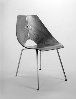 Ray Komai (American, born 1918). Side Chair, ca. 1949. Molded walnut plywood, chromed metal, rubber, 30 1/2 x 22 x 22 1/4 in. (77.5 x 55.9 x 56.5 cm). Brooklyn Museum, Alfred T. and Caroline S. Zoebisch Fund, 1994.156.1. Creative Commons-BY