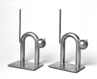 Walter von Nessen (American, born Germany, 1889-1943). Cat Bookend, One of Pair, 1930-1935. Copper-plated alloy, 7 3/8 x 4 1/2 x 2 1/2 in. (18.7 x 11.4 x 6.4 cm). Brooklyn Museum, H. Randolph Lever Fund, 1994.156.4. Creative Commons-BY