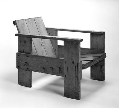 Gerrit Th. Rietveld (Dutch, 1888-1964). Crate Armchair, ca. 1935. Wood, height: 23 1/4 in. Brooklyn Museum, Gift of Rosemarie Haag Bletter and Martin Filler, 1994.160. Creative Commons-BY