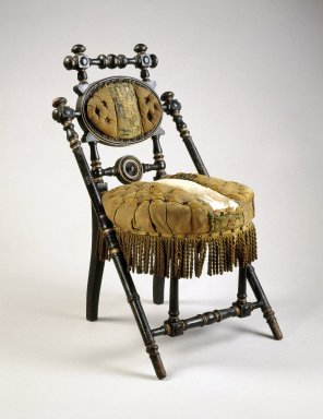 George Jacob Hunzinger (American, born Germany, 1835-1898). Chair, ca. 1869. Ebonized wood, original upholstery, 33 1/2 x 19 3/4 x 22 5/8 in.  (85.1 x 50.2 x 57.5 cm). Brooklyn Museum, Gift of Norman Mizuno, 1994.164. Creative Commons-BY
